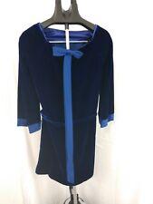 Beautiful ILGWU Blue Velvet Dress W/ Wrap Around Tie And Back Bow Embellishment