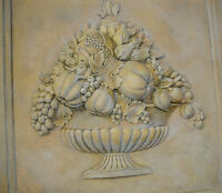 Fruit Basket Wall plaque backsplash stone tile home kitchen marble relief decor
