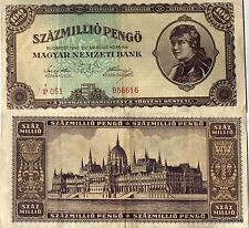 UN BILLET DE BANQUE HONGRIE CIRCULE  100 MILLIONS de PENGO 1946