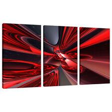 3 PEZZI TELA ASTRATTO ARTE foto LARGE ROSSO MODERNO MURO STAMPE 3006