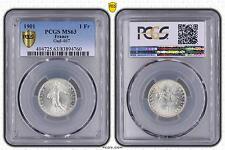 M5505 Rare 1 Franc Semeuse 1901 PCGS MS63 Argent Silver SPLENDIDE -> Faire Offre