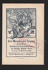 LEIPZIG, Werbung 1908, Carl Merseburger Schul-Verlag Gesang Klavier Orgel