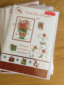 With Love Daughter. Traditional Design Quality Christmas Card. Lovely Words.