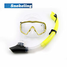Aqua Dive Yellow Snorkeling Mask Set Dry Snorkel Tempered Glass Liquid Silicone