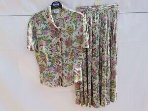 Vintage 1990s Laura Ashley 2 piece skirt & blouse Size 10 floral summer