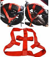 Universal Motorcycle Red Rear Wheel Handlebar Transport Bar Tie Down Strap Lock&