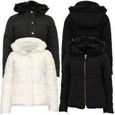 Ladies Parka Jacket Womens Brave Soul Coat Padded Wadded Hoodie Fur PVC Winter