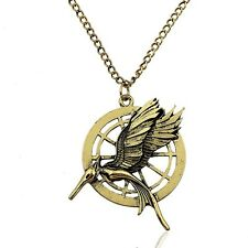 RF The Hunger Games Mockingjay Logo Bronze Color Pendant Necklace