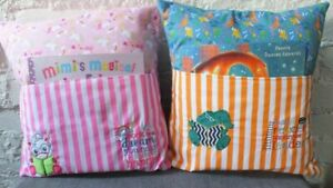 Handmade Embroidered Reading Cushions - includes insert and book