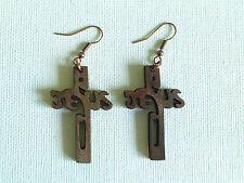 The wooden Jesus cross earrings