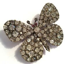 Antique Victorian butterfly brooch, in gold-tone base metal set w sparkly pastes