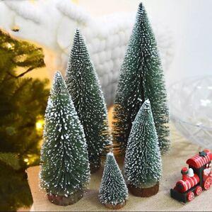 Small Christmas Tree Fake Pine Tree Mini Sisal Bottle Brush Snow Frost Tree CZUK