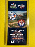 2021 TEXAS RANGERS Commemorative Ticket Stub GLOBE LIFE FIELD Opening Day 4/5/21