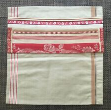 More details for vintage german mangle cloth / french ticking cushion pillow cover 1