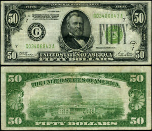 FR. 2101 G $50 1928-A Federal Reserve Note Chicago G-A Block VF LGS
