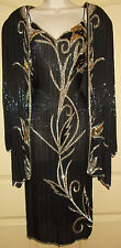 Silk Beaded Sequined Evening Dress & Jacket  MED 10 Womens Black Gold Silver 5g1