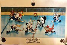 Looney Tunes WARNER BROS Edmonton Oilers Battle Of Alberta NHL Hockey Litho Art