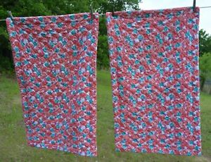 PAIR of BETSEY JOHNSON Pillow Covers Shams Hot pink Roses w/ teal & peach