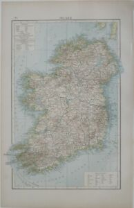 Original 1896 Andrees Map IRELAND Submarine Telegraph Lines Railways Londonderry
