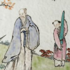 A Chinese Porcelain Plaque Qianjiang Scholar with Boy