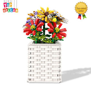 Flower Bouquet Artificial Flowers with Woven Vase Botanical Collection for Adult