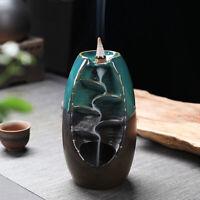 Ceramic Mountain Waterfall Smoke Backflow Incense Burner Censer Cones Holder AU