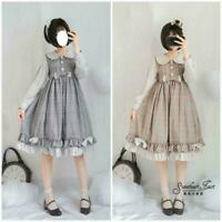 Mori Style Girl Sweet Lolita Doll Collar Dress Plaid Skirt Long Sleeve Dress