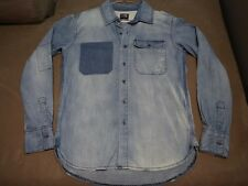 094 MENS RUSTY PALE BLUE DENIM L/S OVERSHIRT SZE SML EX-COND, $140 RRP.
