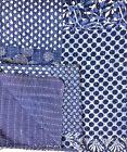 Indian-Handmade+Quilt+Indigo+Kantha+Bedspread+Throw+Cotton+Blanket+Gudri+Queen