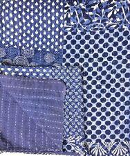 Indian Handmade Indigo Kantha Quilt Bedspread Throw Cotton Blanket Gudri Queen