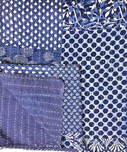 Indian-Handmade Quilt Indigo Kantha Bedspread Throw Cotton Blanket Gudri Queen