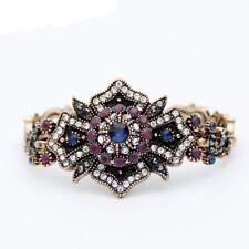 Women's Turkish Jewelry Bracelet Bangle Blue Vintage Flower Gold Plated Indian