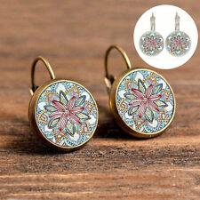 BOHO Vintage Henna Round Flower Bronze Glass Cabochon Ear Studs Pierced Earrings