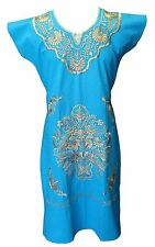 Huipil Style DRESS TURQUOISE 2 FITS Small/Medium Mexican Embroidered MANTA