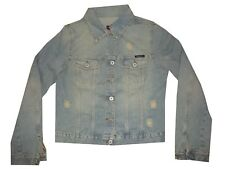 voice giacca giubbotto jeans donna strappato sfilacciato chiaro corto taglia XL