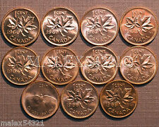 1960 TO 1969 BU CANADA 1 CENT MINT STATE (11 COINS) >>FREE $HIPPING IN CANADA!<<