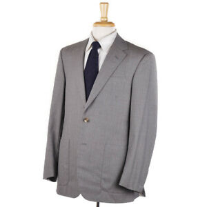 NWT $4495 OXXFORD HIGHEST QUALITY 'Capitol' Gray Striped Wool Suit 40 R