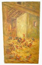 A Great Antique Rooster Painting Signed Gestel 91