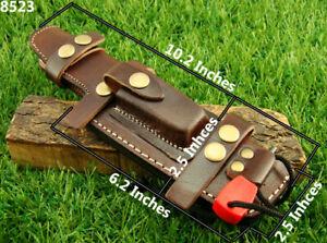 Alistar UK Multi Carry Knife Brown Bushcraft Leather Sheath w/ Fire Starter(6000