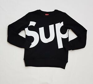 Supreme Italia Print Logo Black Sweatshirt, Size S, M, L, XL, 2XL
