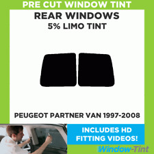 Pre-Cut Window Tint - PEUGEOT PARTNER VAN 1997-2008 - Rear Windows 5% LIMO BLACK