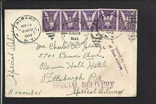 ALBANY, NEW YORK 1943 SPECIAL DELIVERY COVER, TO PITTSBURGH PA. AUXILLARYS.