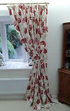 Laura Ashley Freshford Cranberry Curtains 'Poppy Design' 215cm wide x 220cm long