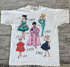 Vintage Barbie T-Shirt One Size 1995 Jerry Leigh Through the Decades White