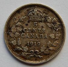 1919 Canada 5 Cents Silver Coin   SB5626