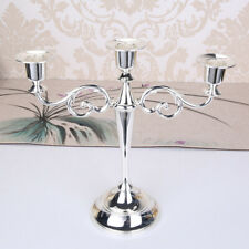Silver Metal Candle Holder 3-arms Candle Stand Candlestick Wedding Party Decor