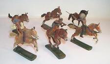 Elastolin / Lineol Masse Figuren Wildwest Cowboy Indianer 6 Pferde 3 Reiter #127