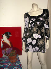 Stunning REVIEW Dress Short Black Floral Long Sleeves Size 8 Barely Worn