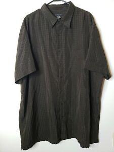J. Ferrar Men's Button Front Dress Shirt Size 3XLT Brown Black Embroidered Plaid