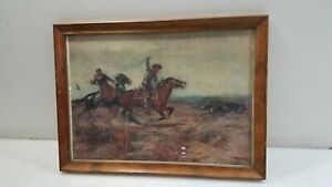 Antique 1890 CM Russell Western Lithograph Framed